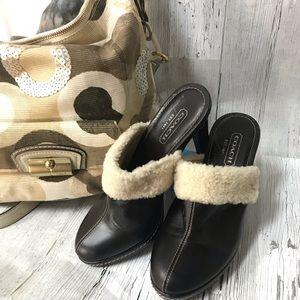 ‼️Coach Leather Heeled Mules‼️